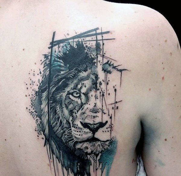 Tatouage Lion Taches d'Art Imperméable