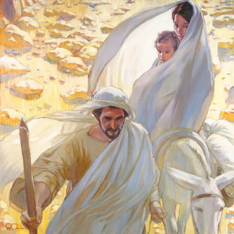 Painting of Joseph leading Mary and Jesus on a donkey as they flee into the desert.