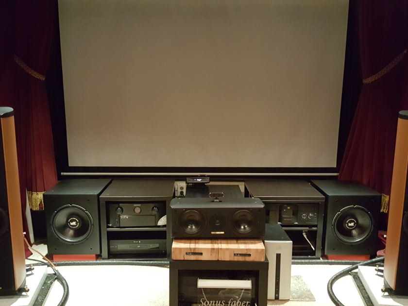 Sonus Faber Liuto Chestnut Fronts and center home theater  speakers.