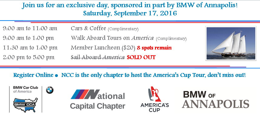 Ncc Hosts The America S Cup Tour Info On Sep 17 2016 653963 Motorsportreg Com