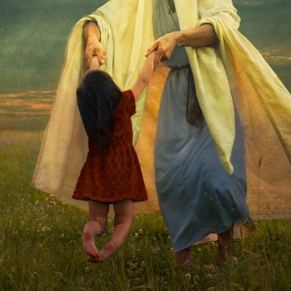 LDS art painting of Jesus Christ playing with a child.