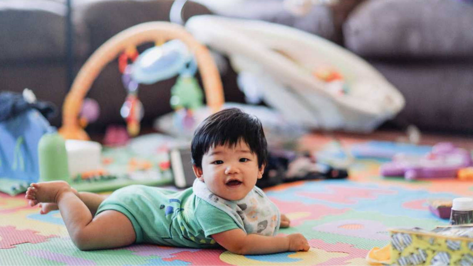 Tummy time helps baby learn to roll over