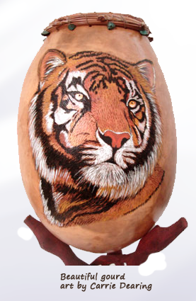 Tiger themed gourd art by Carrie Dearing