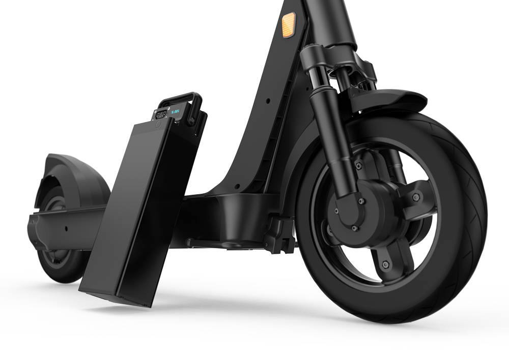 Okai-electric-scooter-sharing-es400-scooter-battery-front-wheel-suspension