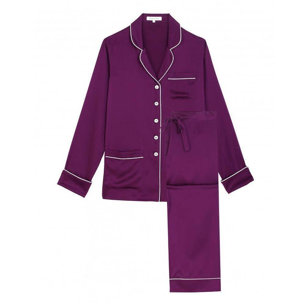 Olivia von halle coco mulberry silk pajama set