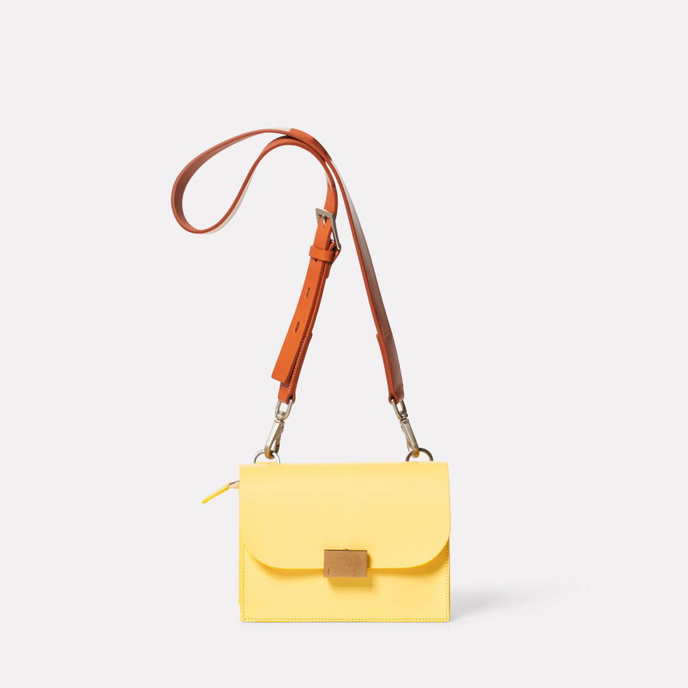 Lockie Boundary Leather Crossbody Lock Bag in Yellow