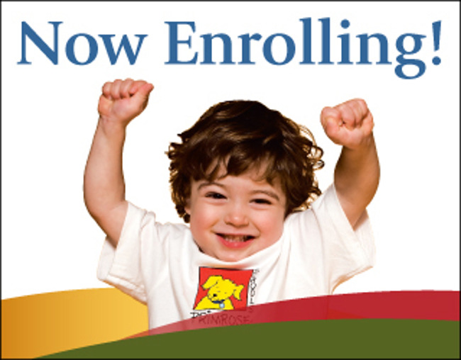 Now enrolling poster featuring a young Primrose toddler cheering with his arms up in the air