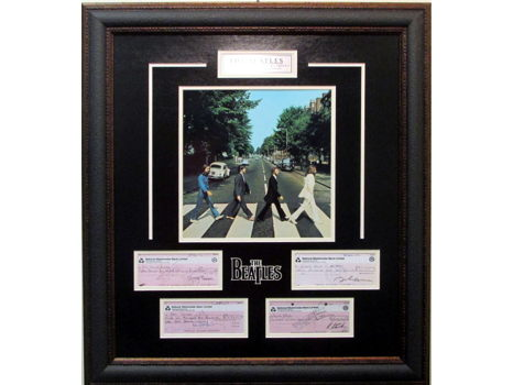 Beatles Check Collage w/Facsimile Signatures