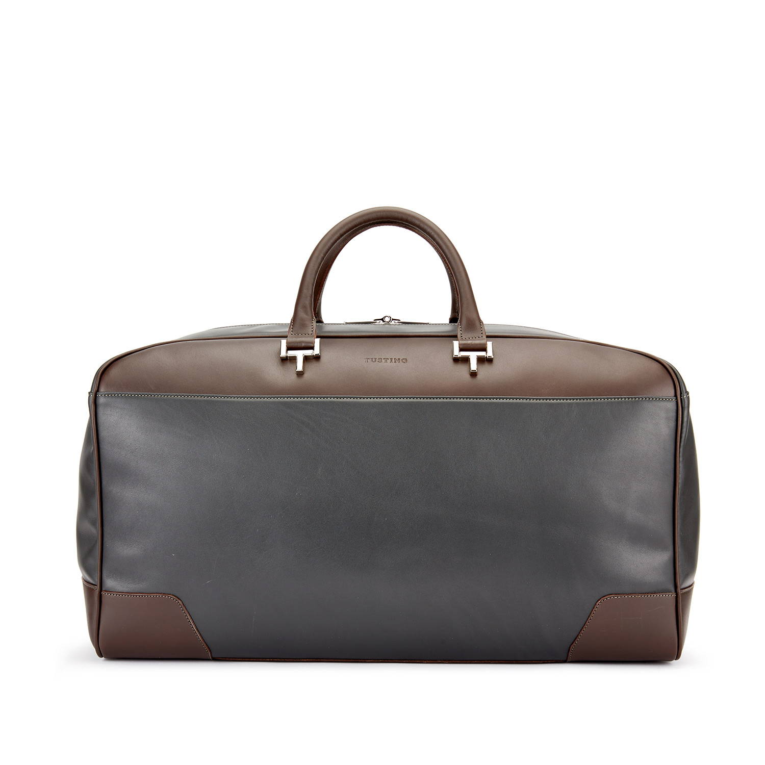 Tusting Hingham Leather Duffle Bag in Pewter and Chocolate