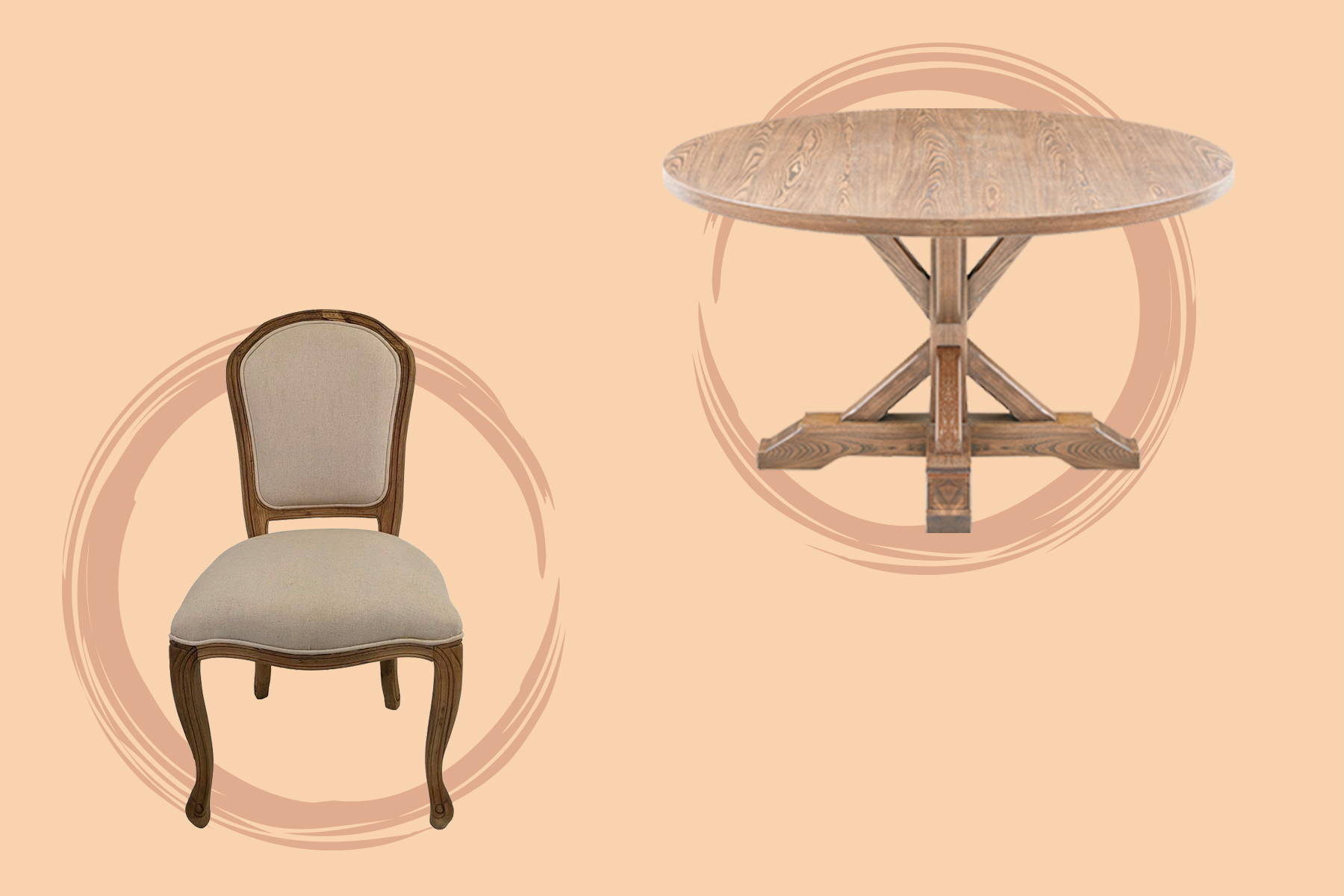 wooden round table and a chair