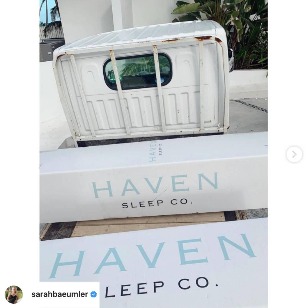 Sarah Baeumler Instagram post of haven mattress boxes
