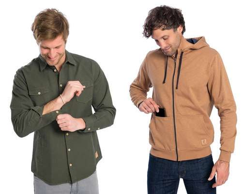 Man wearing green hemp shacket with grey trousers and man wearing camel organic cotton hoodie with indigo jeans from sustainable brand Bleed clothing