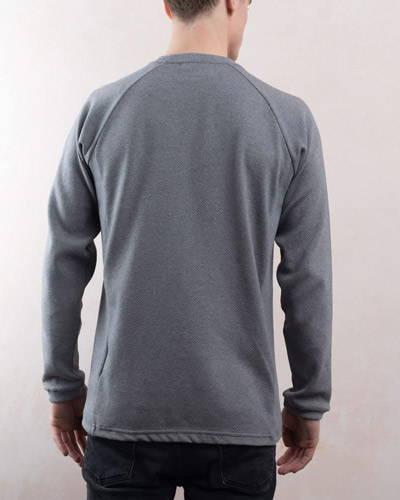 Back of man wearing a plain grey mens organic cotton sweatshirt from organic menswear brand Lyme Terrace