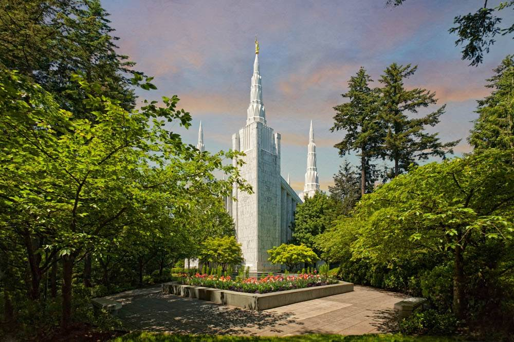 LDS art photo of the Portland Oregon Temple surrounded by green trees.