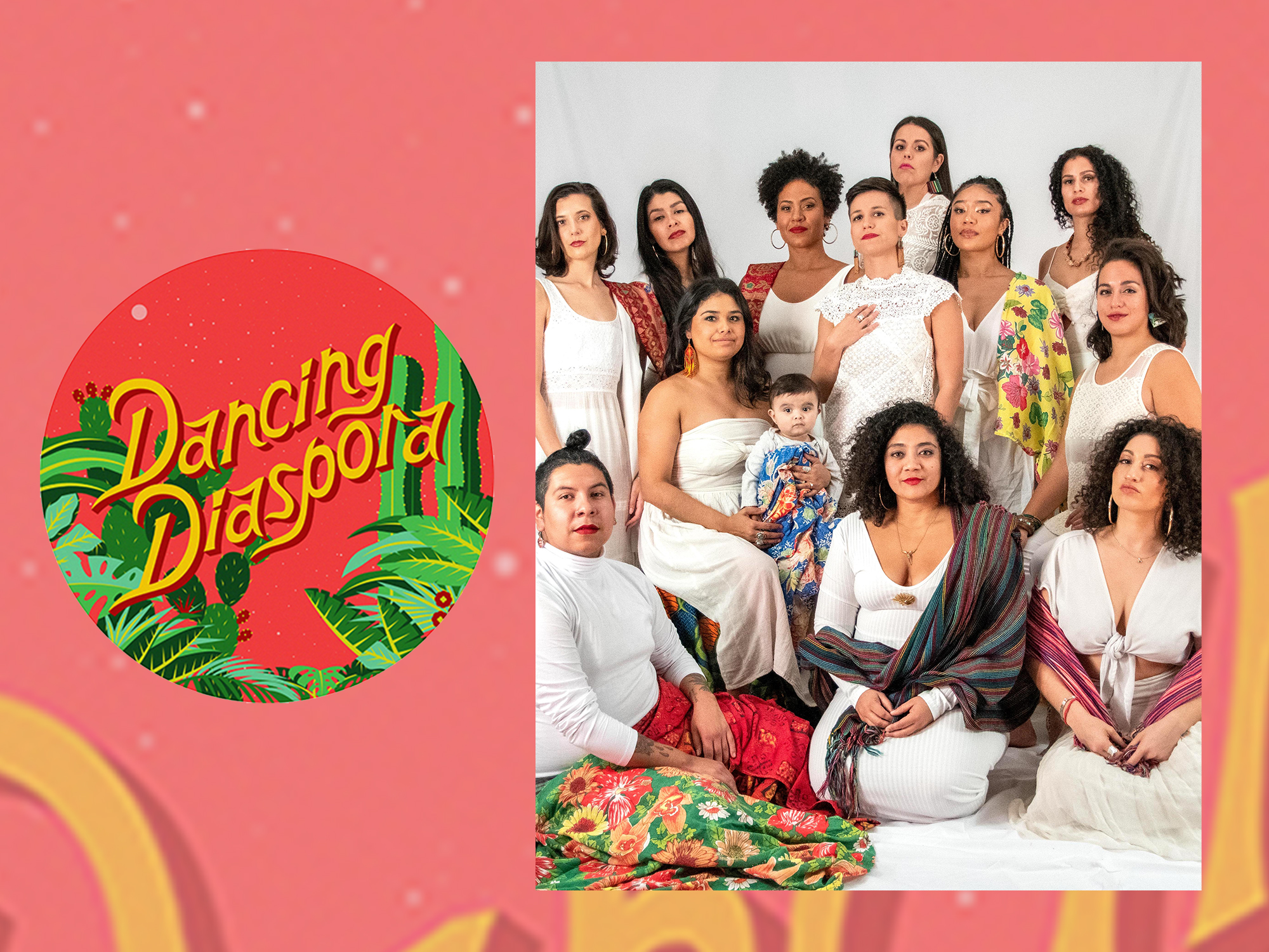 Dancing Diaspora poses for a portrait in front of a draped white backdrop