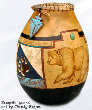 Bear Paw gourd art by Christy Barajas