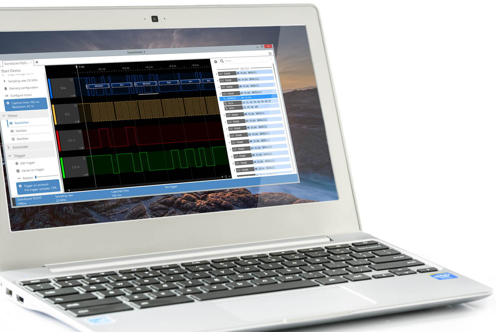 logic analyzer software runs on laptop