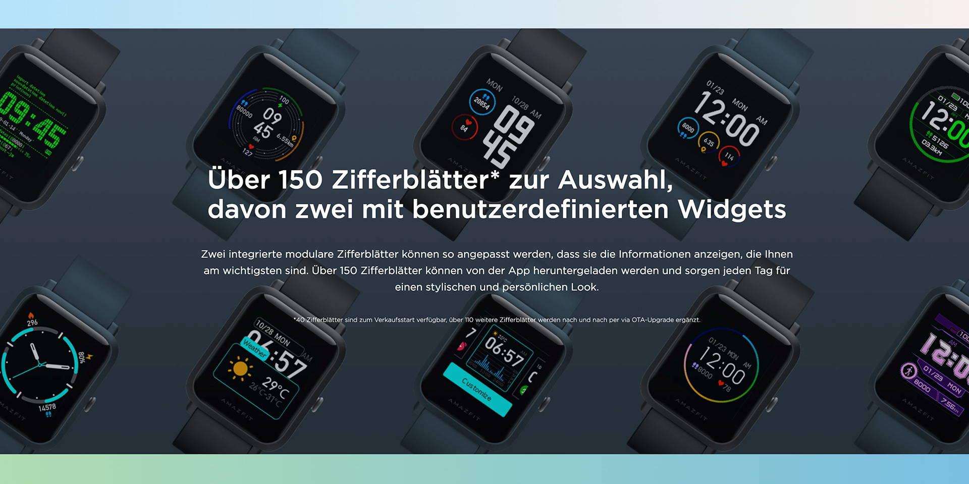 Amazfit DE - Amazfit Bip S Lite - Über 150 Zifferblätter* zur Auswahl, davon zwei mit benutzerdefinierten Widgets