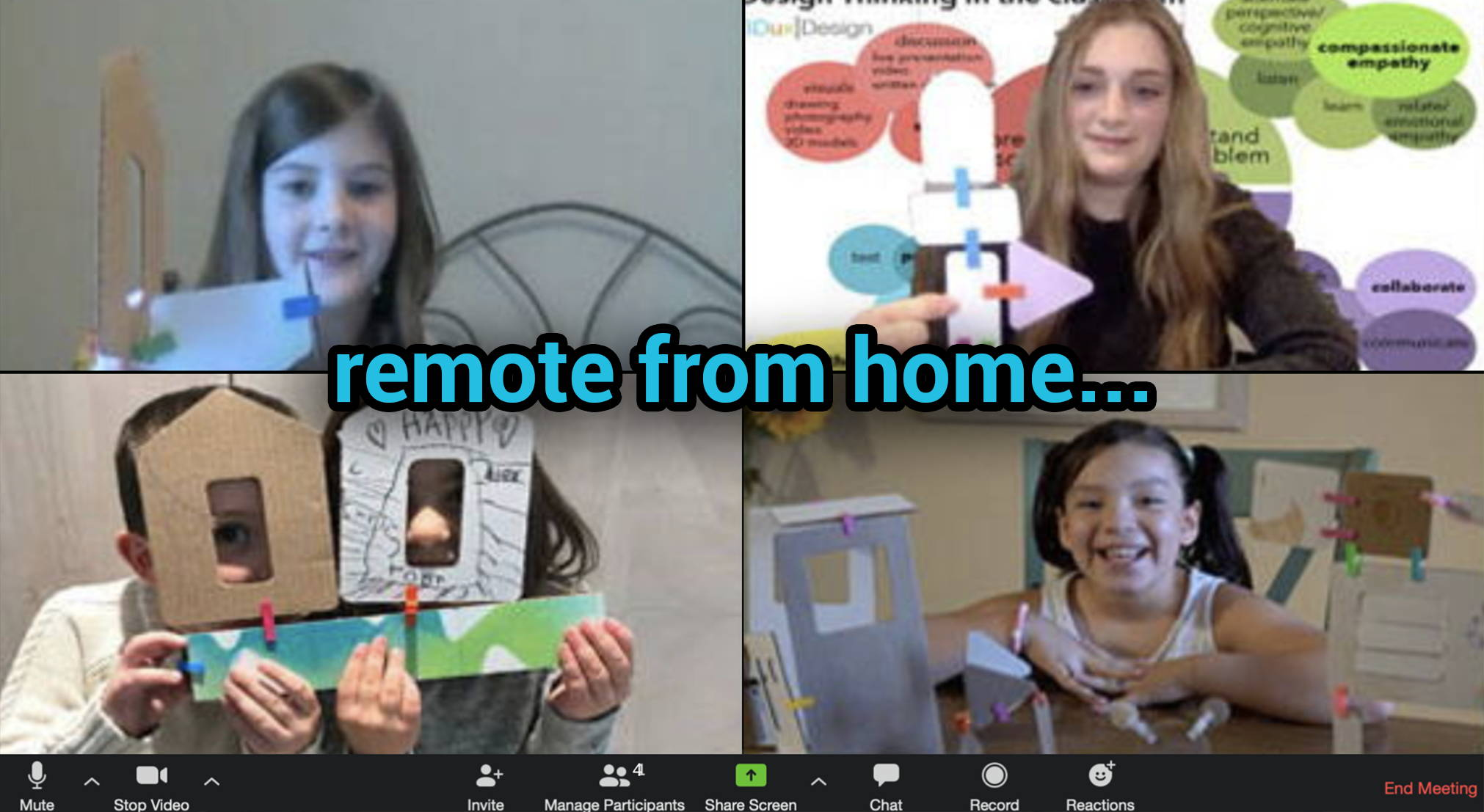 children learning STEM remotely with 3DuxDesign