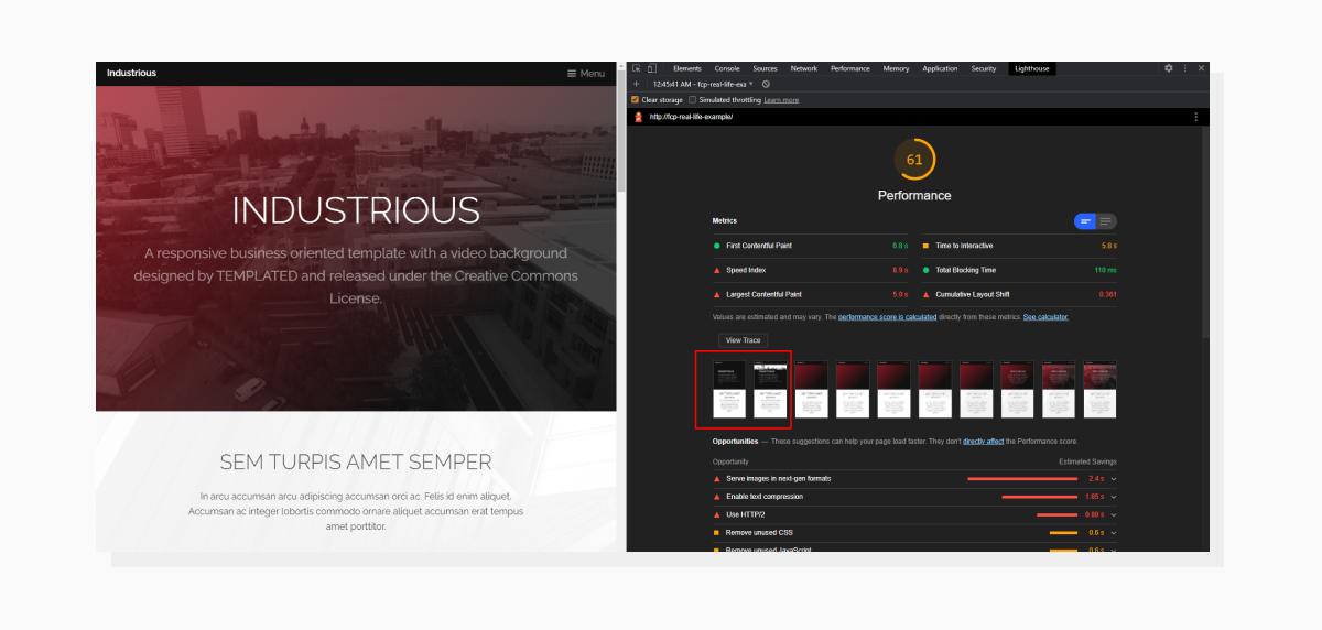 a screenshot demonstrating improvements in page loading screenshot timeline