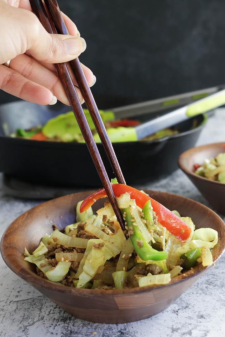 Keto Stir Fry with Cabbage Noodles