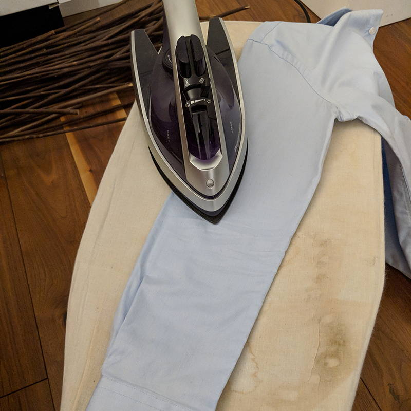 tight flat sleeves laid down flat with iron over