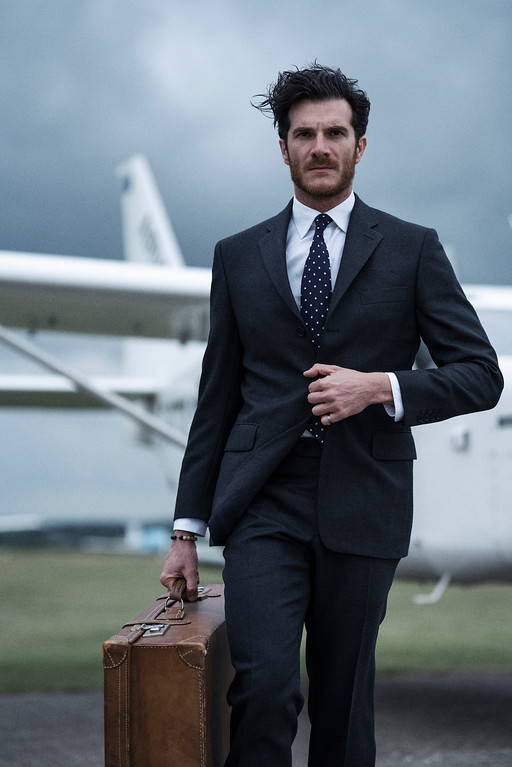 Regent photoshoot at sarum airfield, regent suit, model, plane, suiting