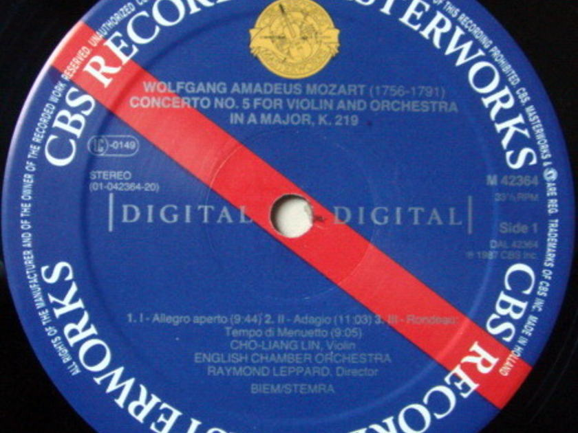 CBS Digital / CHO-LIANG LIN, - Mozart Violin Concertos No.3 & 5, NM!