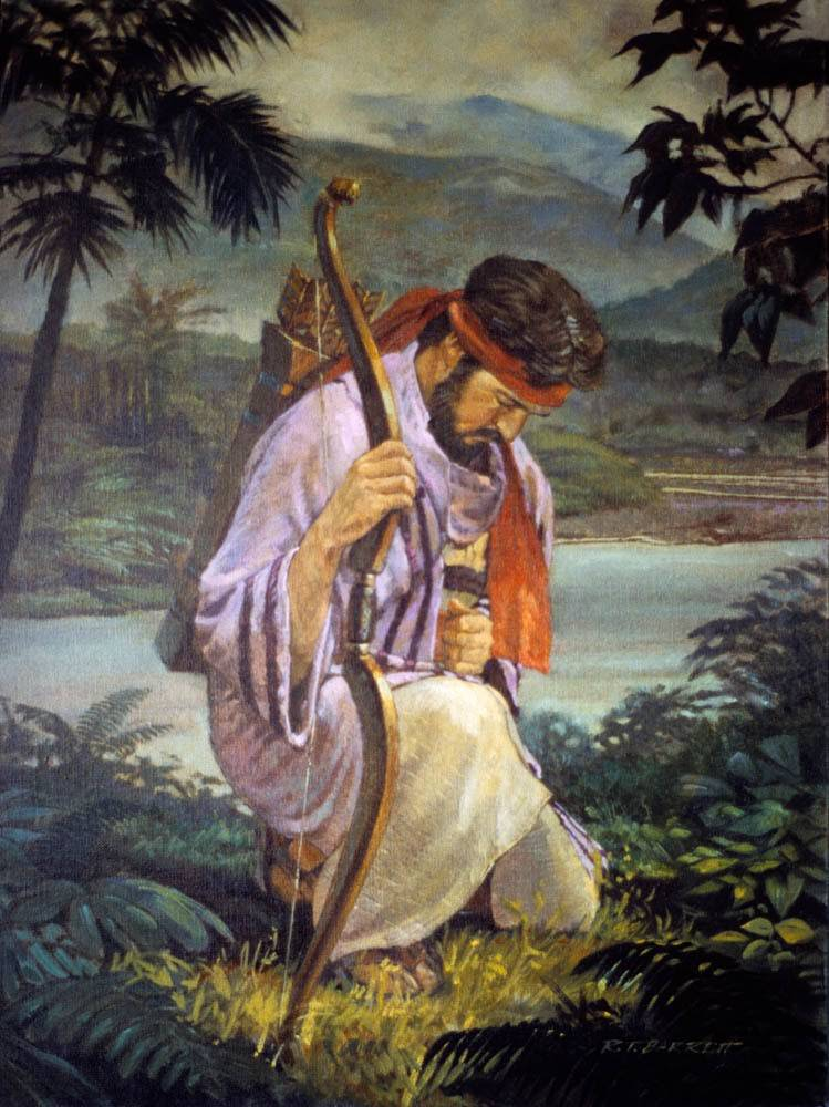LDS art painting of Enos kneeling in prayer.