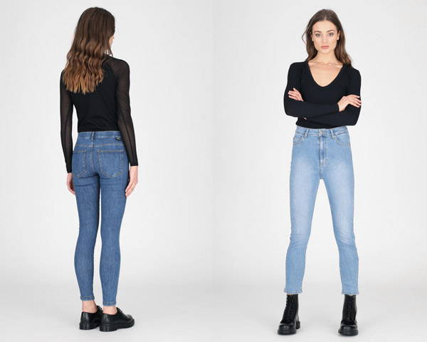 Woman wearing black top with organic cotton sustainable jeans from Dr Denim
