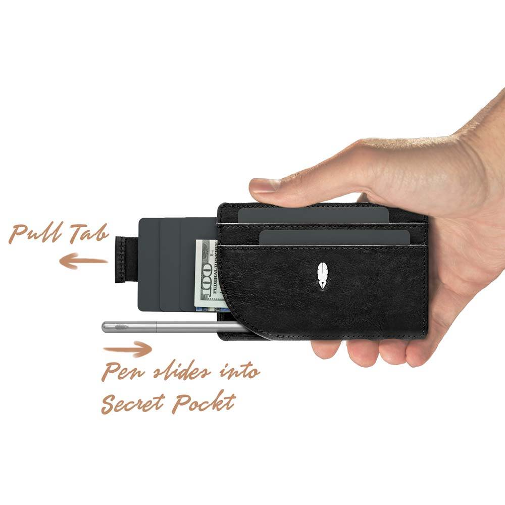 Journal Pen and Wallet held in one hand
