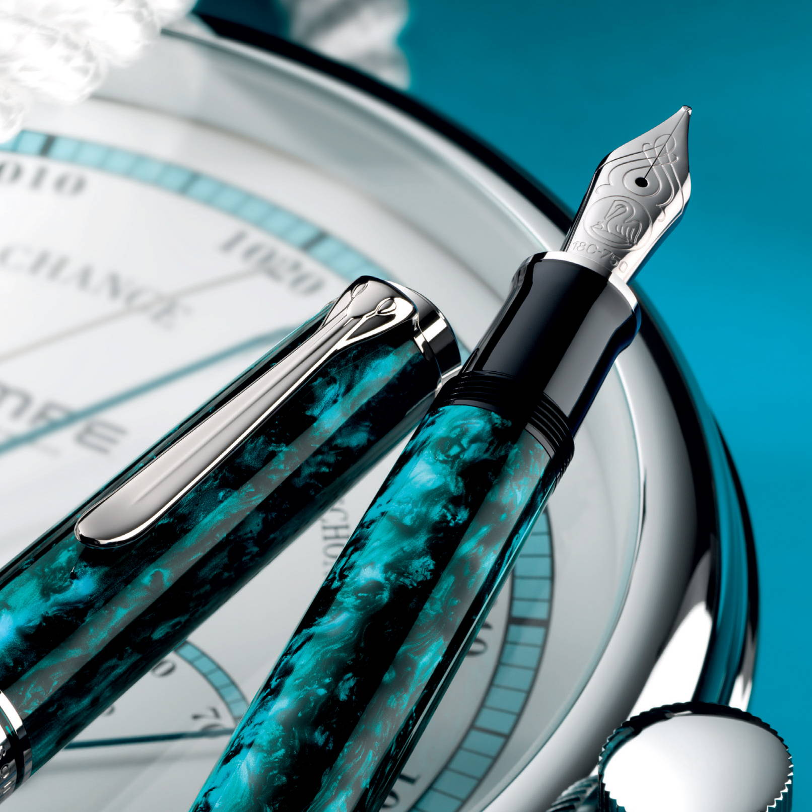 Free Pelikan Edelstein Ink when you pre-order the Souveran 805 Ocean Swirl