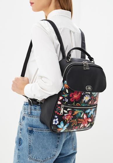 Рюкзак из экокожи черный с цветочным орнаментом // ANJ