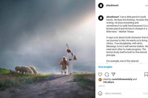 Instagram post featuring Christ walking with a child shepherd down a path.