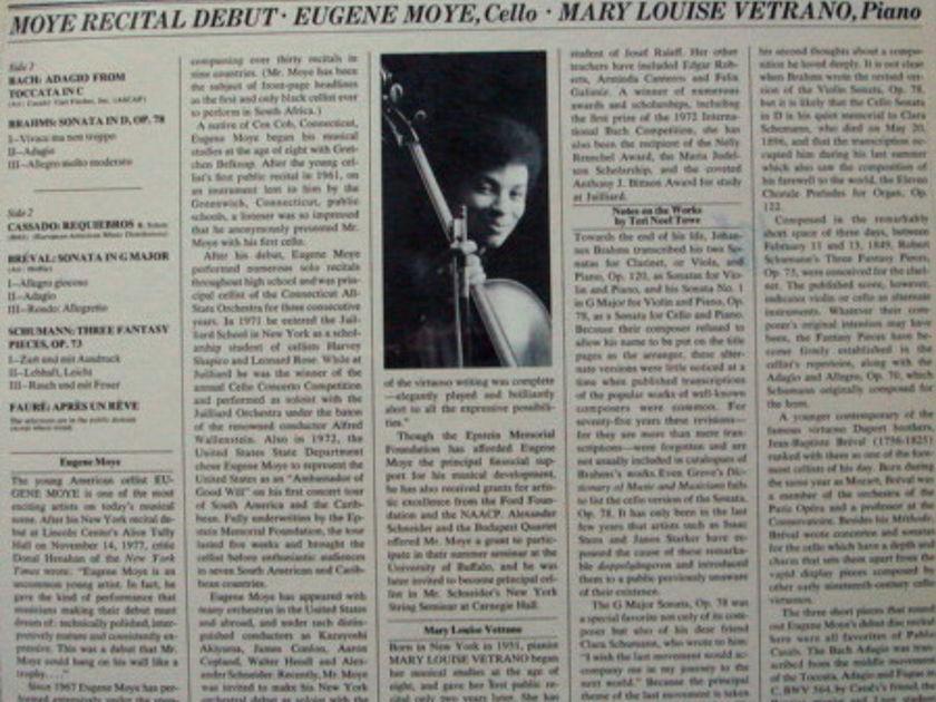 ★Sealed★ Columbia / MOYE - Recital Debut, Bach Adagio, Brahms Cello Sonata!