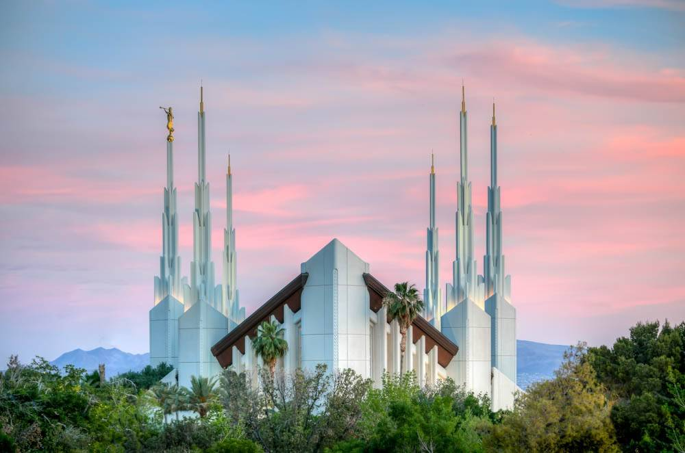 Photo of Las Vegas Nevada LDS Temple with pink sunset as backdrop.