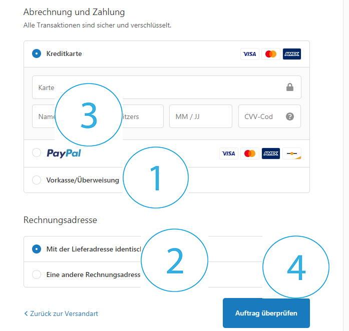 Rezilin bestellen durch verschiedene Bezahlmöglichkeiten