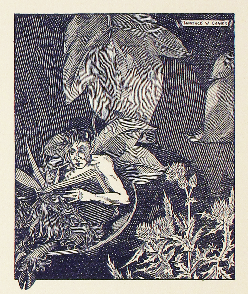 The book cover of A Few Figs From thistles that is a drawing of a fairy reading a book.