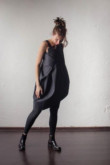 Платье ассиметричного кроя из черного хлопка PLESK