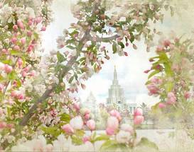 LDS art of the Idaho Falls temple framed by branches of pink blossoms.