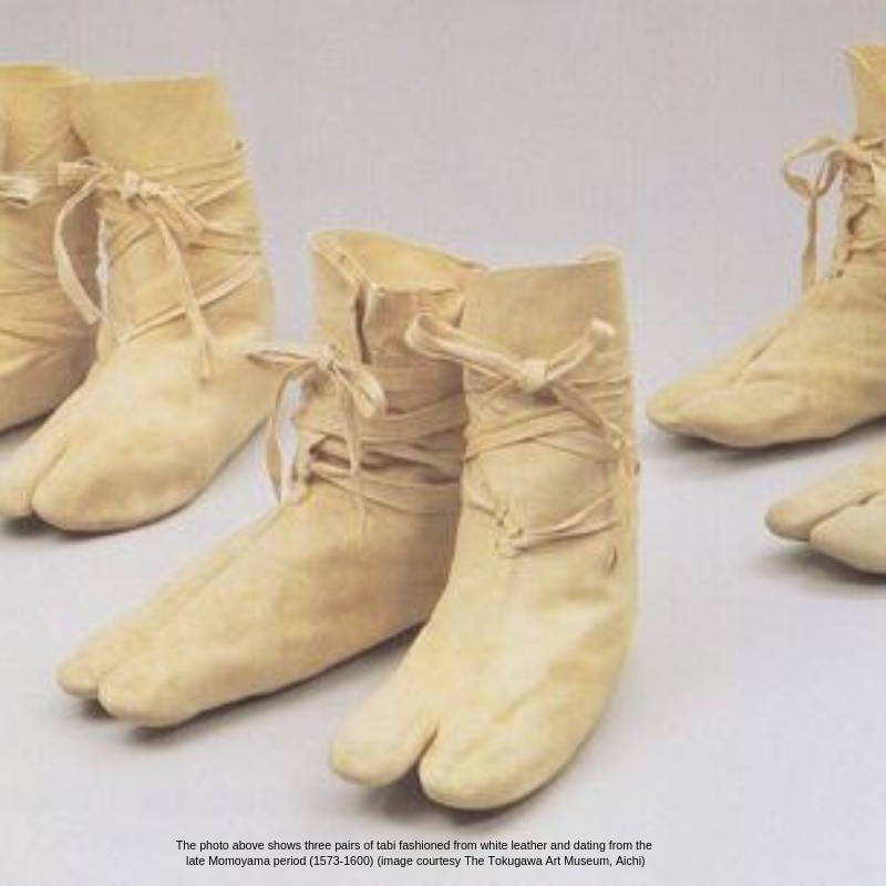 Tabi boots made fro white leather from 1573-1600