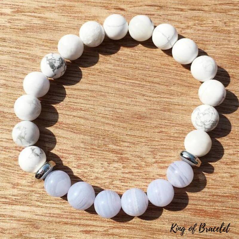 Bracelet en Perles d'Howlite et Agate Blue Lace - King of Bracelet