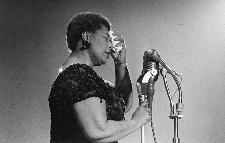 Black and white image of Ella Fitzgerald performing at the Bowl in 1960
