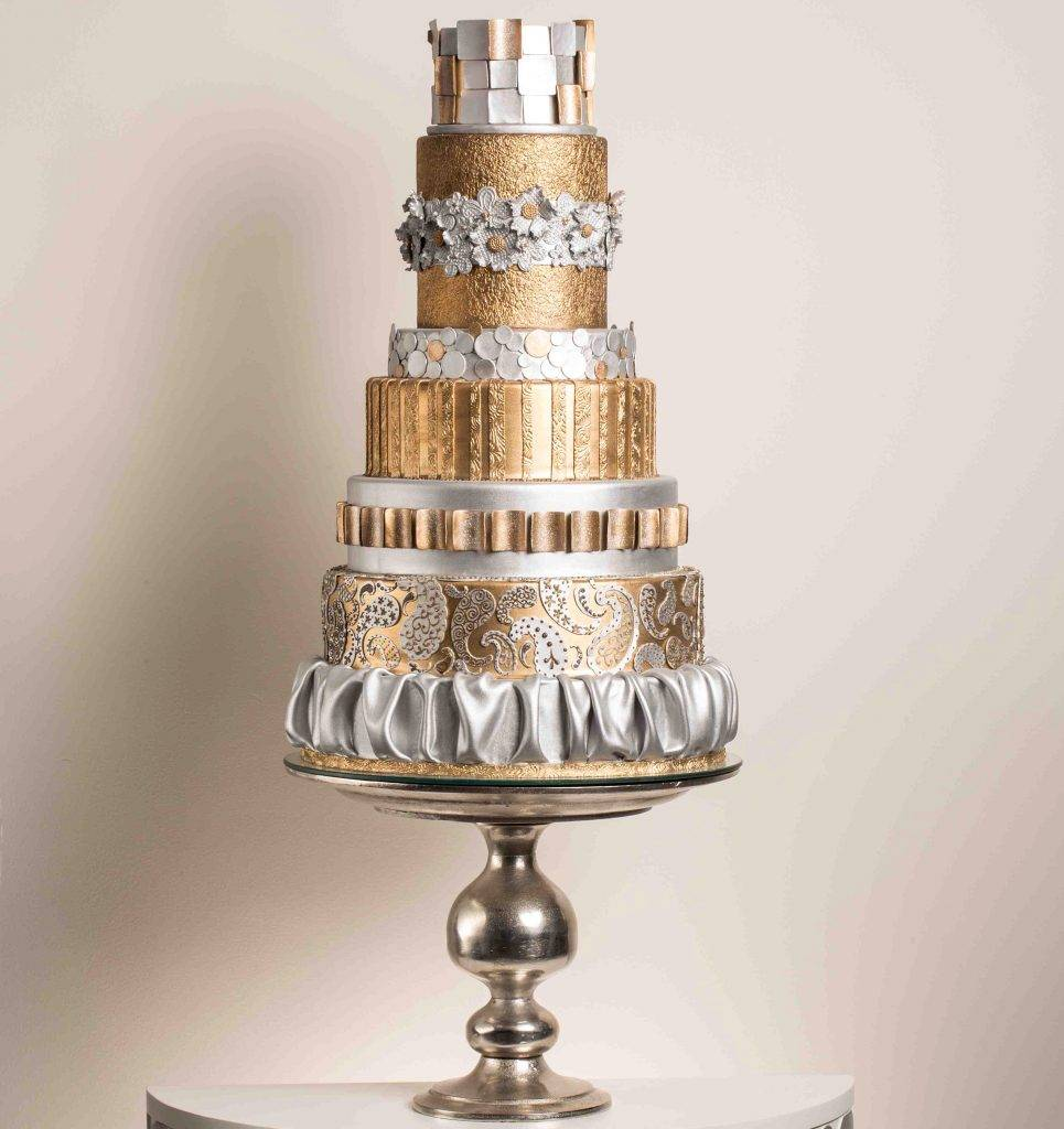 Gold inspired, 9 tiered wedding cake made by House of Clarendon in Lancaster, PA
