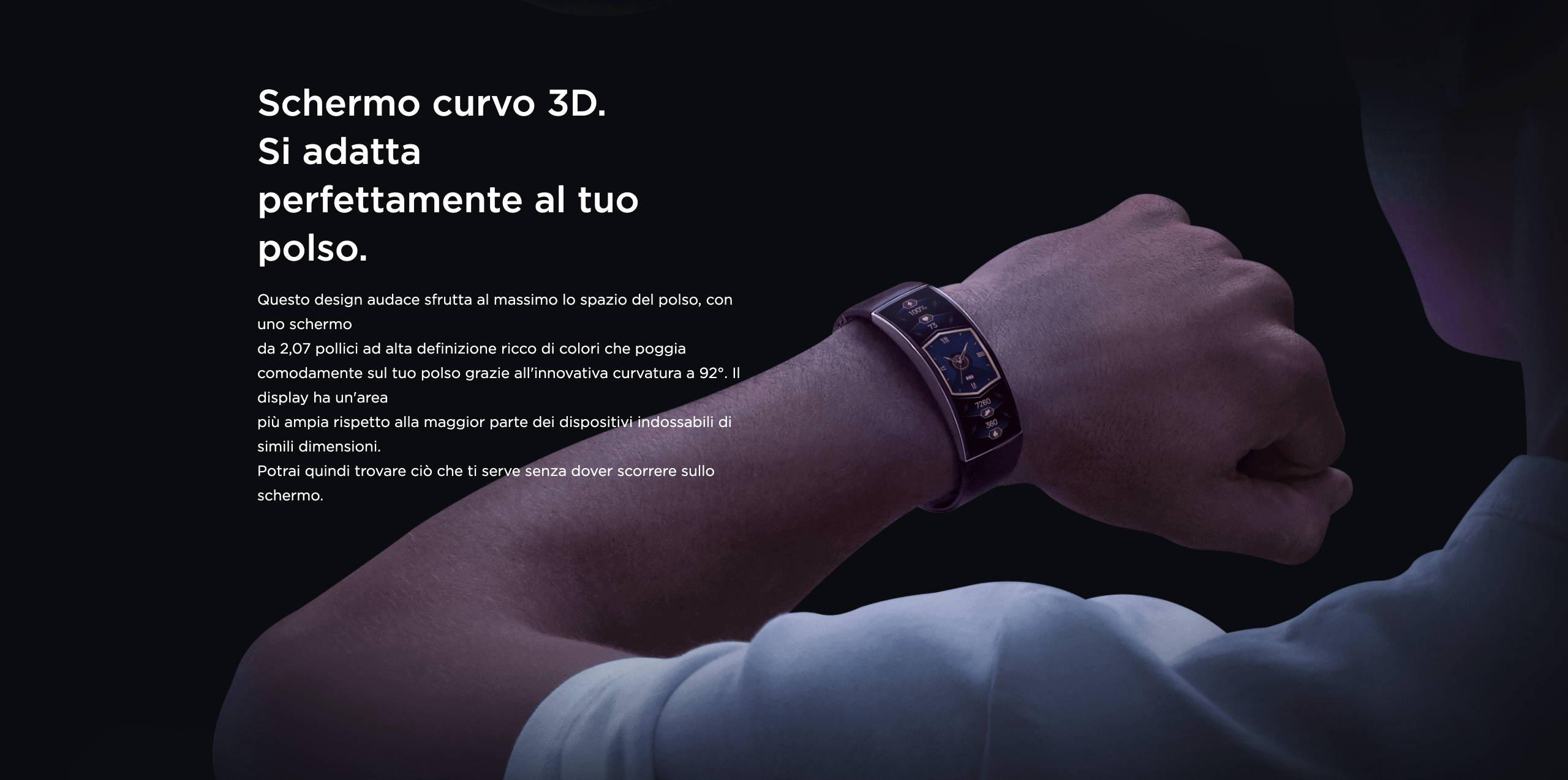 Amazfit X - Schermo curvo 3D. Si adatta perferramente al tuo polso.