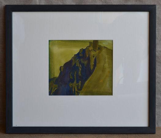 """Акварельная картина """"Крепость на скале"""" в раме с паспарту под стеклом"""