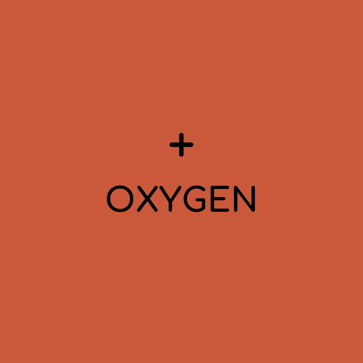 "solid background with plus sign and ""oxygen"""