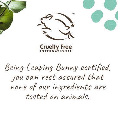 Cruelty Free Leaping Bunny Certified Beauty Ingredients, never tested on animals
