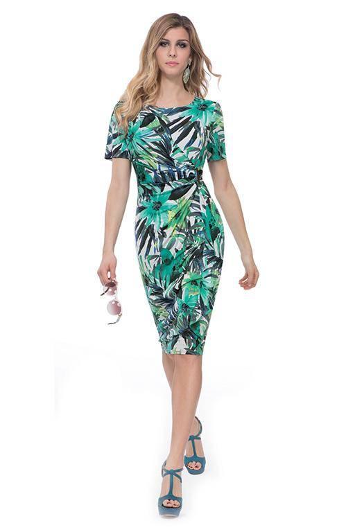 MICHAELA LOUISA 8456 GREEN FLORAL DRESS PALM PRINT