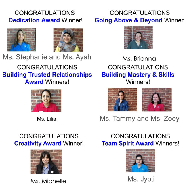 Collage of teachers pictures who won a semiannual award during our teacher in-service day